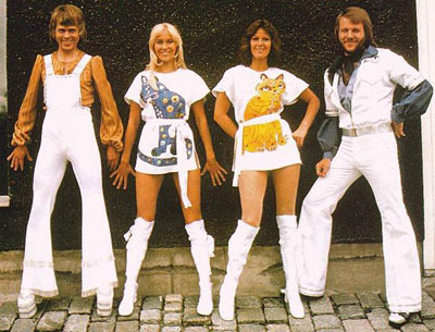 ABBA, looking extrodinarially Kubrickesque, were major influences of both fashion, and spontaneous eye bleeding.