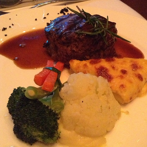Main Course Option 2: Beef Steak. My colleague had this. The cauliflower looked bigger than the steak!